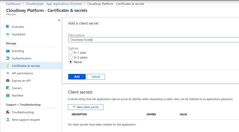 Azure App Registrations New Client Secret