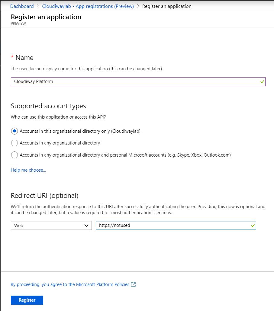 Azure Register an Application