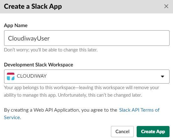 Slack Create New App