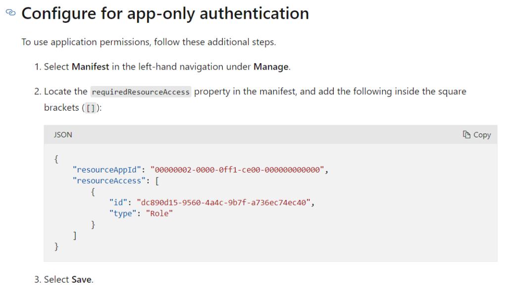 Azure configure for app-only authentication