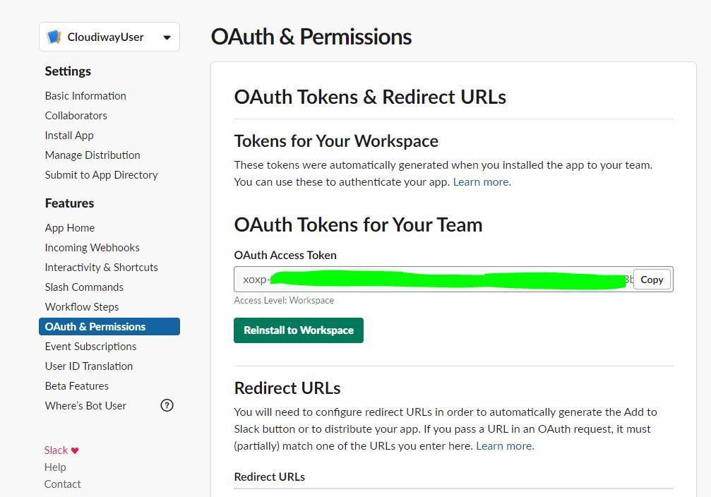 OAuth token slack team