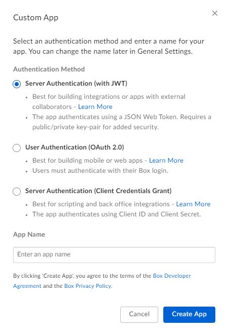 Box App Authentication OAuth JWT